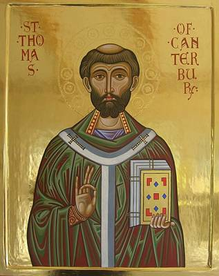 Egg Tempera Painting - Icon Of St Thomas Becket Of Canterbury by Peter Murphy