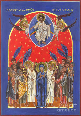 Byzantine Icon Painting - Icon Of The Ascension by Juliet Venter