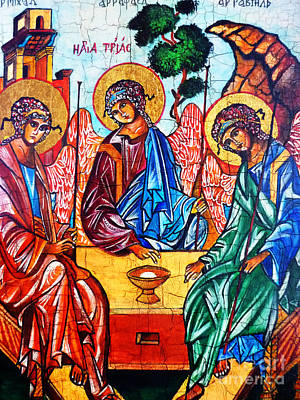 Old Testament Trinity Painting - Icon Of The Holy Trinity by Ryszard Sleczka