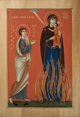 Burning Bush Mixed Media - Icon Of The Mother Of God In A Burning Bush And Moses The  Prophet by Phil Davydov