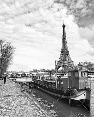 Eiffel Tower Photograph - Iconic Eiffel Tower From The Banks Of The Seine by Mark E Tisdale