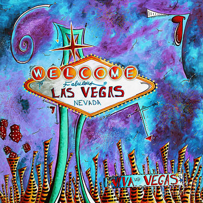 Iconic Painting - Iconic Las Vegas Welcome Sign Pop Art Original Painting By Megan Duncanson by Megan Duncanson