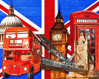 Digital Art - Iconic London Pop Art Tribute by Mark E Tisdale