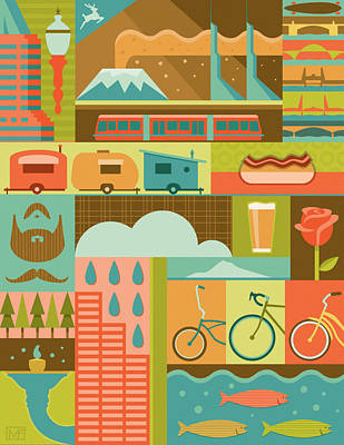 Bicycling Digital Art - Iconic Portland by Mitch Frey