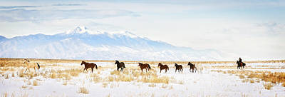 Horse In The Run Photograph - Iconic Wild  Horse Roundup In Winter Months  by Kriss Russell