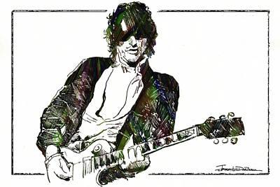 Aerosmith Drawing - Icons - Joe Perry by Jerrett Dornbusch