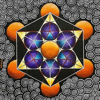 Metatron Cube Painting - Icosahedron In A Metatron's Cube by Maya B