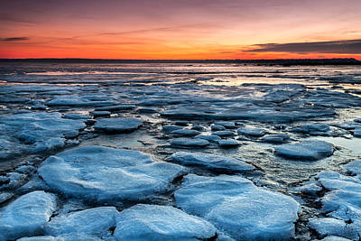 Photograph - Icy Beach Landscape Sunset by Pierre Leclerc Photography