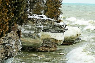 Nikki Vig Royalty-Free and Rights-Managed Images - Icy Cave Point - Door County by Nikki Vig