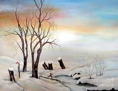 Art Print featuring the painting Icy Dawn by Anna-maria Dickinson