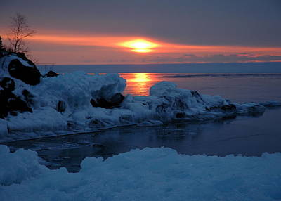 Art Print featuring the photograph Icy Lake Superior Sunrise by Sandra Updyke