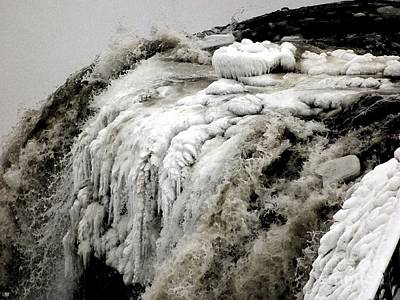 Photograph - Icy Niagara Falls Closeup Watercolor Effect by Rose Santuci-Sofranko