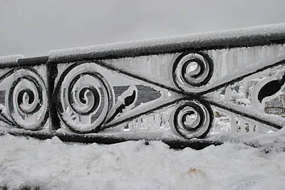 Icy Railing Art Print by Mark Alan Perry