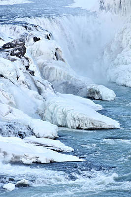 Icy River And Waterfall Art Print
