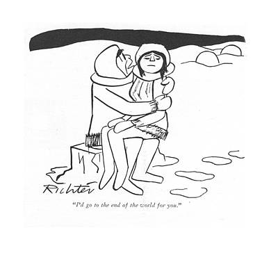 Inuit Drawing - I'd Go To The End Of The World For You by Mischa Richter