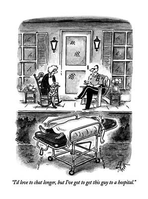 Man Of The House Drawing - I'd Love To Chat Longer by Frank Cotham