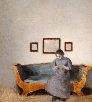Interior Scene Painting - Ida Hammershoi Sitting On A Sofa by Vilhelm Hammershoi