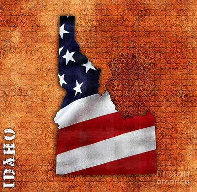 State Mixed Media - Idaho American Flag State Map by Marvin Blaine