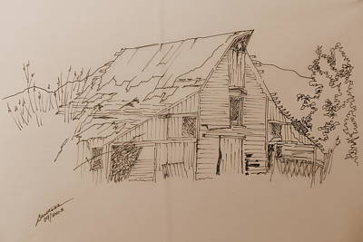 Drawing - Idaho Barn by Joel Deutsch