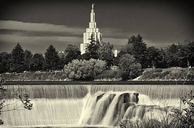 Photograph - Idaho Falls Temple Black And White by Greg Norrell