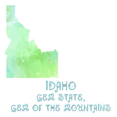 Digital Art - Idaho - Gem State - Gem Of The Mountains - Map - State Phrase - Geology by Andee Design