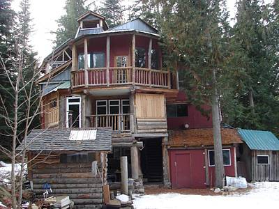 Photograph - Idaho Hippie House 3 Stories Built On Tree Trunks by Windy Mountain