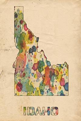 Painting - Idaho Map Vintage Watercolor by Florian Rodarte