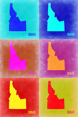 Modern Poster Painting - Idaho Pop Art Map 2 by Naxart Studio