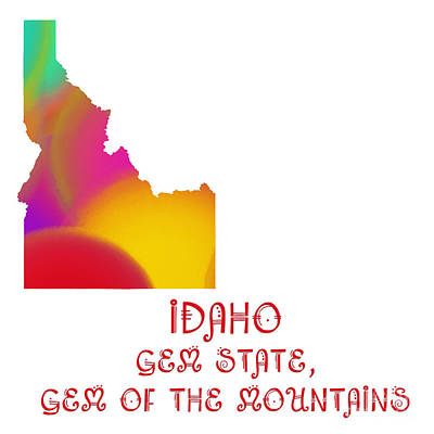 Digital Art - Idaho State Map Collection 2 by Andee Design
