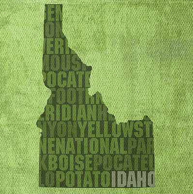 Potato Mixed Media - Idaho State Word Art Map On Canvas by Design Turnpike
