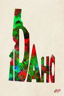 Idaho Typographic Watercolor Map Print by Ayse Deniz