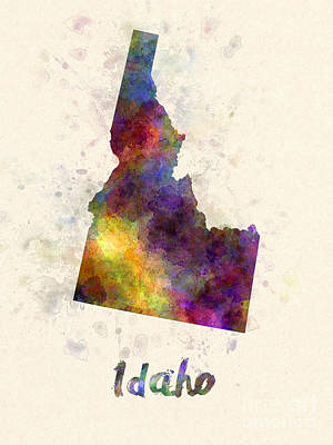 Cartography Painting - Idaho Us State In Watercolor by Pablo Romero