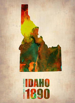 Idaho Watercolor Map Art Print