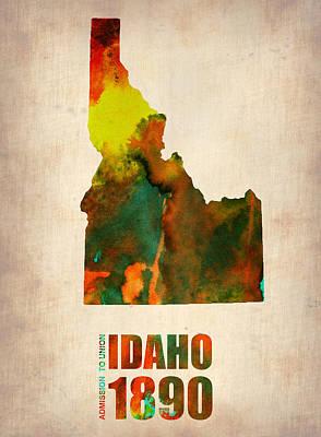 Modern Poster Digital Art - Idaho Watercolor Map by Naxart Studio