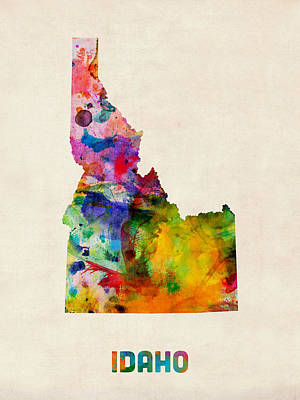 Idaho Watercolor Map Print by Michael Tompsett