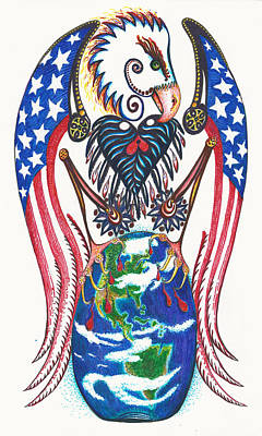 South American Eagle Drawing - Idealistic Eagle With A Blue Egg by Melinda Dare Benfield