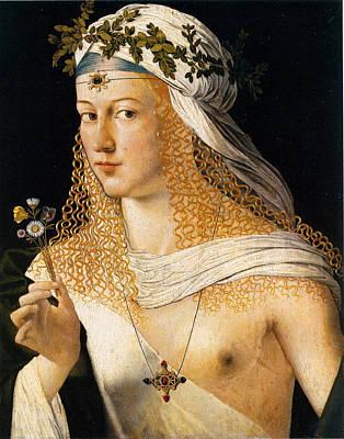 Courtesans Painting - Idealized Portrait Of A Courtesan As Flora by Bartolomeo Veneto