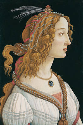 Sandro Botticelli Painting - Idealized Portrait Of A Lady. Portrait Of Simonetta Vespucci As Nymph by Sandro Botticelli