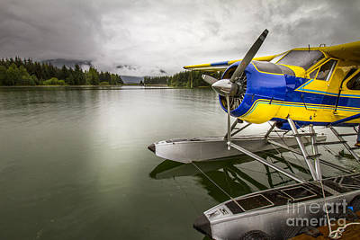 Blue Airplane Photograph - Idle Float Plane At Juneau Airport by Darcy Michaelchuk