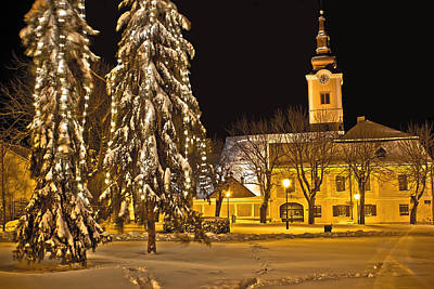Photograph - Idylic Winter Cityscape Evening In Snow by Brch Photography