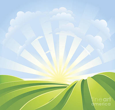 Idyllic Green Fields With Sunshine Rays And Blue Sky Art Print