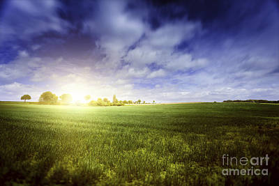 Clouds Over Pasture Photograph - Idyllic Meadow With Sun Over Horizon by Evgeny Kuklev