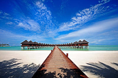 Idyllic Symmetry. Water Villas. Maldives Print by Jenny Rainbow