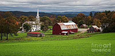 New England Village Photograph - Idyllic Vermont Small Town by Edward Fielding