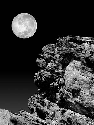Photograph - Idyllwild Full Moon And A Rock Night Scene by Ben and Raisa Gertsberg