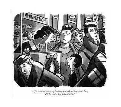 Information Drawing - If A Woman Shows Up Looking For A Little Boy by Peter Arno
