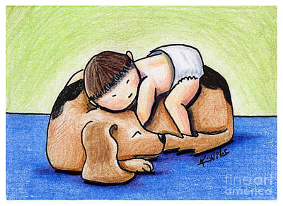 Ebsq Drawing - If All Else Fails Hug Your Dog by Kim Niles