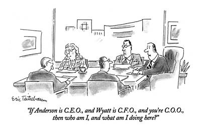 Boardroom Drawing - If Anderson Is C.e.o by Eric Teitelbaum