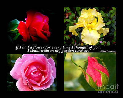 If I Had A Flower Collage Print by Kathy  White