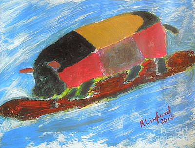 Painting - If Pigs Could Surf Or Surfing Life's Great Wave 1 by Richard W Linford